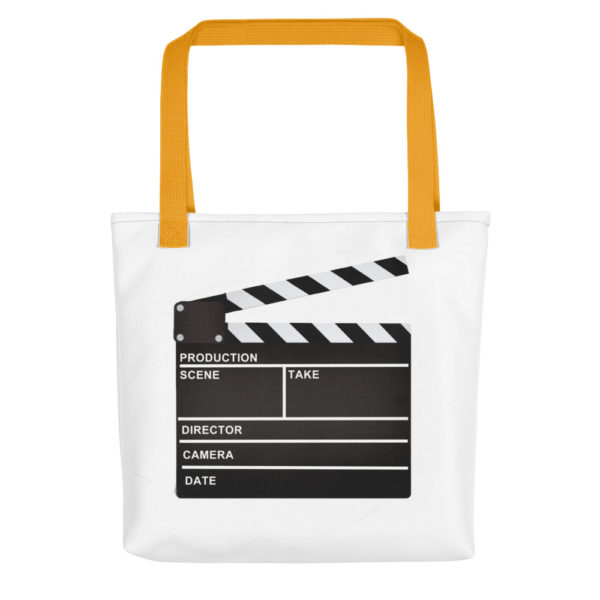 bag with a clapper board on the side