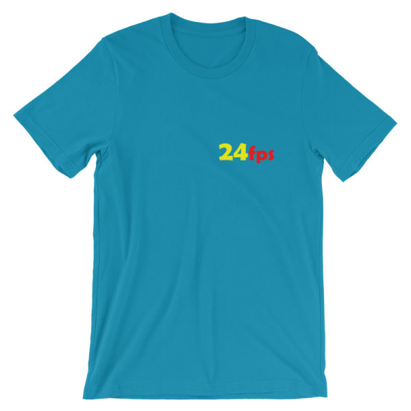 24fps t-shirt in a bright blue